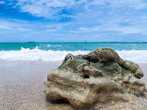 The stone on the beach, Thailand. Royalty Free Stock Photos