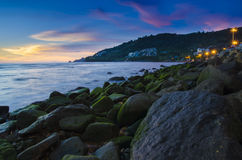 Stone on the beach in twilight, phuket Stock Photo