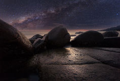 The stone beach under starry night clearly with milky way Royalty Free Stock Photo