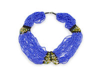 Stone beads necklace isolated on white Royalty Free Stock Photo