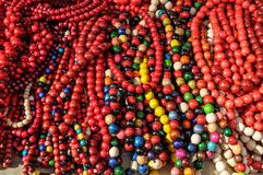 Stone beads necklace in many shades of colors. Red stone necklace jewellery stock images