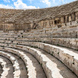 Stone beches of Large South Theatre in Jerash Royalty Free Stock Image