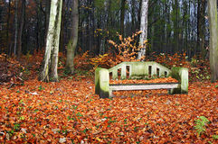 Stone bench. Covered with leave in the fall forest in the horizontal format Royalty Free Stock Photography