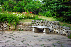 Stone bench Royalty Free Stock Photos