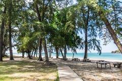 Stone bench Beautiful  near beach at Tarutao Island, Satun, Thai Stock Images