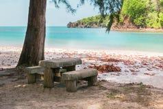 Stone bench Beautiful  near beach at Tarutao Island, Satun, Thai Royalty Free Stock Photo