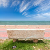 Stone bench on coast of Persian Gulf, Saudi Arabia Stock Photo