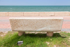 Stone bench on coast in Saudi Arabia Stock Image