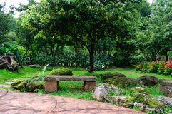 Stone bench. In the garden Royalty Free Stock Images