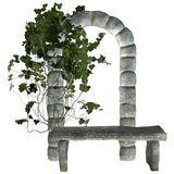 Stone bench with ivy Royalty Free Stock Images