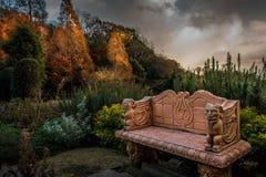 Stone bench at Kobe Herb Gardens Stock Photo