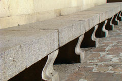 Stone bench. Of large granite slabs Stock Photos