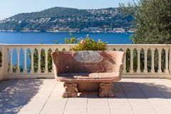 Stone bench. On the Mediterranean terrace royalty free stock photography