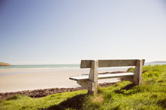 Stone bench near the sea Stock Image