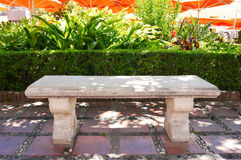 Stone Bench Outdoor Shade Spain Royalty Free Stock Photos