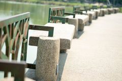 Stone bench. In the park Stock Photos