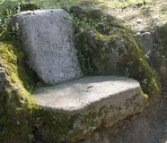 Stone bench in a park. That seems to be part of the surrounding naturemonza milan lombardy royalty free stock image
