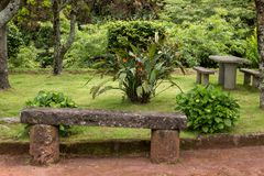 Stone bench at a resting area, Azores Islands