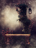 Stone bench with rose vines. Night scenery with a stone bench, rose vines, and a vintage lamp stock illustration