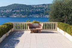 Stone bench. On the Mediterranean terrace stock image