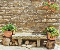 Stone bench. In the old Italian street stock images