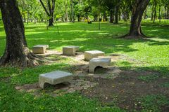 Stone bench. In park royalty free stock photo