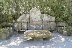 Stone bench and table stock photos