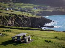 Stone Picnic Bench in Ireland stock images