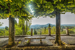 Stone bench in Tuscany Royalty Free Stock Images