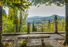 Stone bench in Tuscany Stock Images