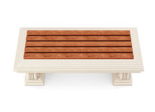 Stone bench with wooden seat isolated. 3d rendering.  Stock Photos