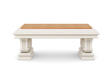 Stone bench with wooden seat isolated. 3d rendering.  Royalty Free Stock Photography