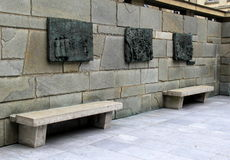 Stone benches and emotional murals in courtyard,Memorial de la Shoah,Paris,France,2016 Royalty Free Stock Photo