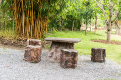 Stone benches in park. Stock Photo