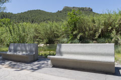 Stone benches. Royalty Free Stock Photography