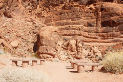 Stone Benches in Red Rock Canyon Stock Images