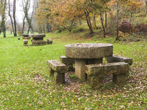 Stone benches and tables Stock Image