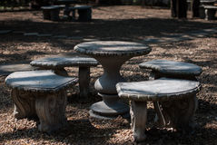 Stone benches and tables Stock Images