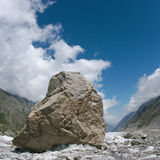 Stone on the Bezengi glacier Royalty Free Stock Photography