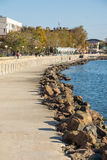 Stone Black Sea embankment in Pomorie, Bulgaria royalty free stock images