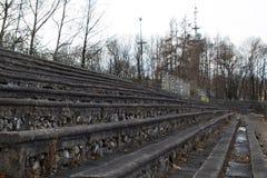 The stone bleachers at the stadium. Korona Krakow Poland royalty free stock photos