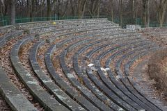 The stone bleachers at the stadium. Korona Krakow Polska royalty free stock images