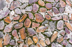 Stone block with grass - seamless background. Royalty Free Stock Image