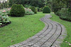 The Stone block walk path. In the park Royalty Free Stock Photos