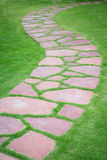 The Stone block walk path in the park Royalty Free Stock Photo