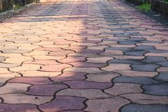 Stone block walk path in the park: Select focus with shallow depth of field. stock image