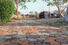 Stone block walk path in the park royalty free stock images