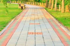 Stone block walk path in public park with sunset light tone with copy space royalty free stock images