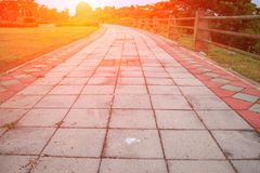 Stone block walk path in public park with sunset light tone: Select focus with shallow depth of field stock images
