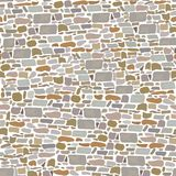 Stone Block Wall, Seamless pattern. Background made of wild bricks. grey, red, sand, yellow, brown, Stock Images